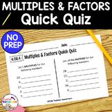 Freebie - Factors and Multiples Quick Quiz