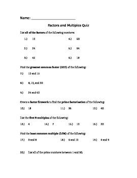 Factors and Multiples Quiz