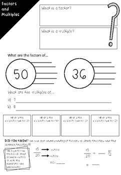 Factors and Multiples Revision Sheet