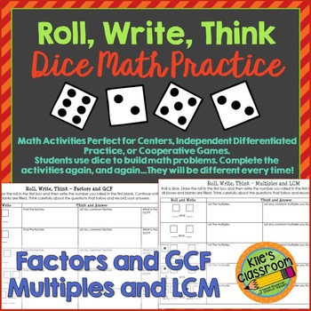 Factors and Multiples - Roll, Write, Think! - Dice Activity Math Skills Practice