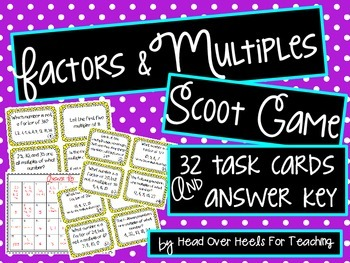 Factors and Multiples Scoot Game {Task Cards}
