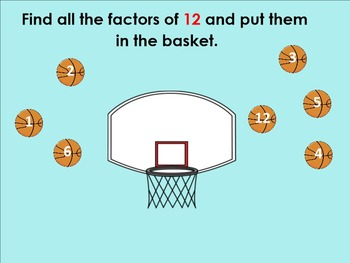 Factors and Multiples Slam Dunk SMARTBoard with Printables