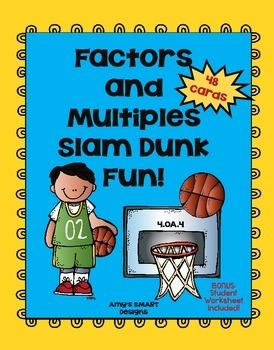 Factors and Multiples Slam Dunk Task Cards with Bonus Worksheet