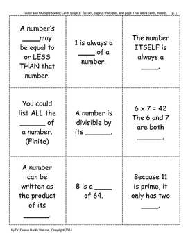 Factors and Multiples Sorting Cards