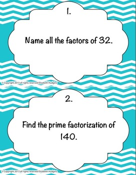 Factors and Multiples Stations