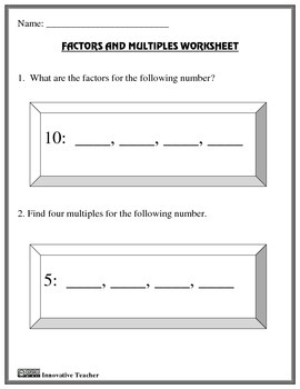 Factors and Multiples Study Guide and Worksheet