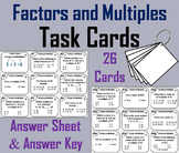 Factors and Multiples Task Cards/ Multiples and Factors Task Cards 4th 5th 6th