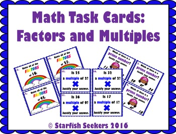 Factors and Multiples: Task Cards
