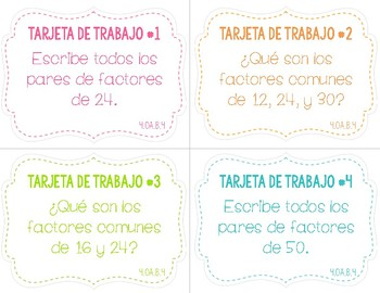 Factors and Multiples Task Cards English/Spanish
