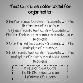 Factors and Multiples Task Cards PLUS 3 WORKSHEETS 4th Grade Common Core