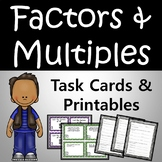 Factors and Multiples Task Cards PLUS 8 WORKSHEETS 4th Grade Common Core
