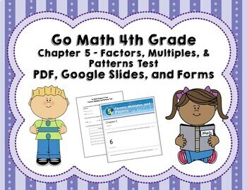 Factors and Multiples Test 4th Grade (Go Math Chapter 5)