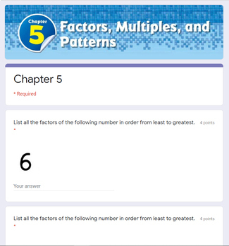 Factors And Multiples Test 4th Grade Go Math Chapter 5 By Joanna Riley