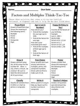 Factors and Multiples Think-Tac-Toe includes Prime and Composite Numbers