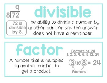 Factors and Multiples Vocabulary Cards English/Spanish