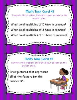 Factors and Multiples Word Problem Task Cards- 3rd, 4th, and 5th Grades