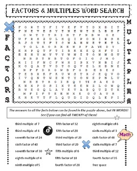 Factors and Multiples Word Search Puzzle