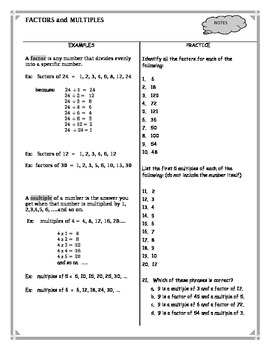 Factors And Multiples Worksheet Teaching Resources | Teachers Pay ...