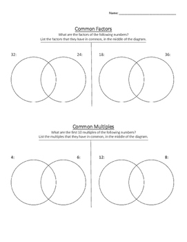 Factors and Multiples Worksheet by Kristin Wiese   TpT
