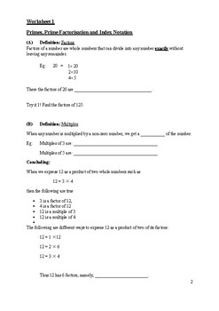 Chapter 1 Factors and Multiples Worksheet