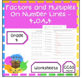 Factors and Multiples on Number Lines Worksheets - (4.OA.4)