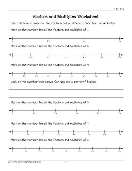 factors and multiples on number lines worksheets  oa  tpt factors and multiples on number lines worksheets  oa