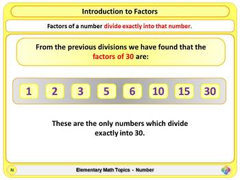 Factors for Elementary School Math
