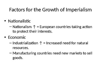 Factors for Imperialism PowerPoint U.S. 1890