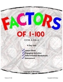 Factors of 1-100, 4 days, 4-5 grades