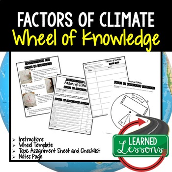 Factors of Climate Activity, Wheel of Knowledge (Interactive Notebook)