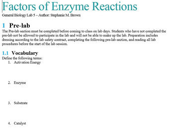 Factors of Enzyme Function Lab