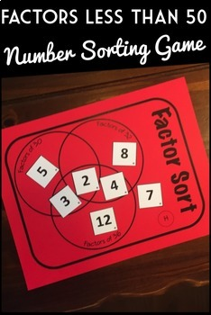 Factors of Numbers Less than 50: Venn Diagram Sorting Game, 14 versions!