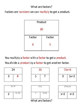 Factors of Numbers and Expressions Notes