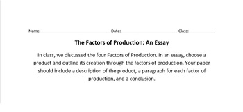 Factors of Production Writing Assignment