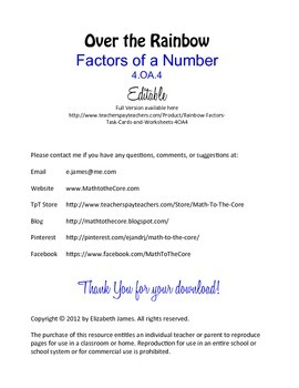 Factors of a Number Worksheet 4.OA.4