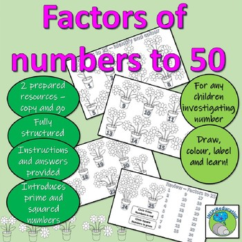 Factors of number 1 - 50 (prime and square numbers) Draw, colour and learn