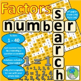 Factors of numbers 1 - 40: Number Search -solve the problems to find the factors