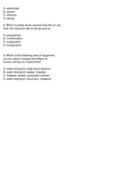 Factors that affect the environment- Water Quiz