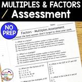Factors and Multiples Quiz - 4.OA.4