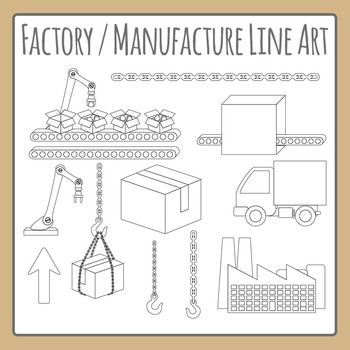 Factory / Manufacturing Black and White Line Art Commercial Use Clipart