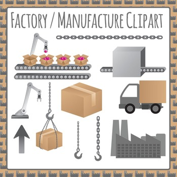 Factory / Manufacturing Commercial Use Clipart - Making, Packing and Moving