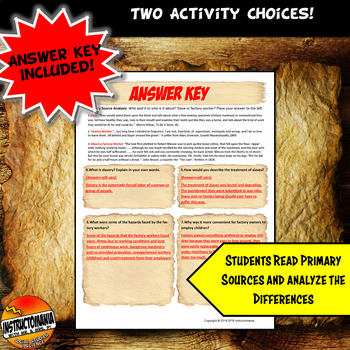 Factory Worker Vs Slave Common Core Writing, Literacy & Comparison Activity