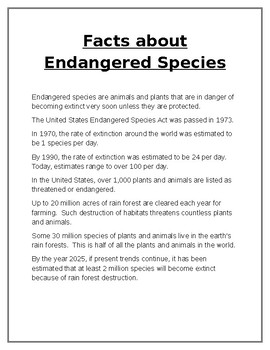 Facts About Endangered Species
