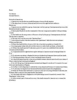 Facts About Jamestown - True & False