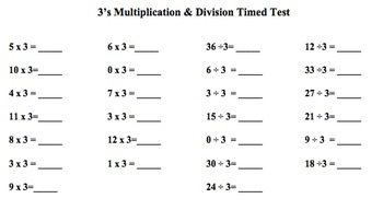 Facts Families Practice and Timed Tests: Multiplication & Division