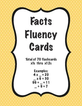 Facts Fluency Cards