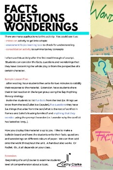 Facts, Questions and Wonderings | Gather First Impressions for Any Text