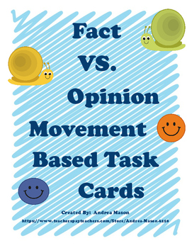 Facts VS. Opinions Task Activity Cards