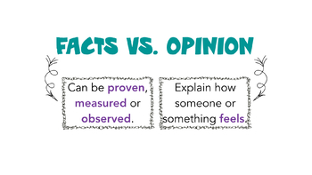 Facts Vs. Opinions Anchor Chart - Olympic Themed