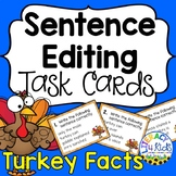 Facts about Turkeys Sentence Editing Task Cards for Third Graders